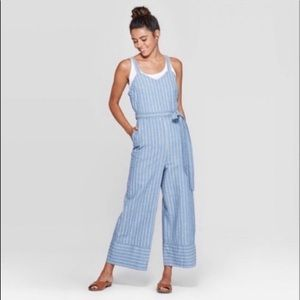 Light Blue Denim Pinstriped Wide-Leg Jumpsuit (Lg)